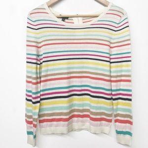 Rainbow Striped light cream Cashmere blend sweater